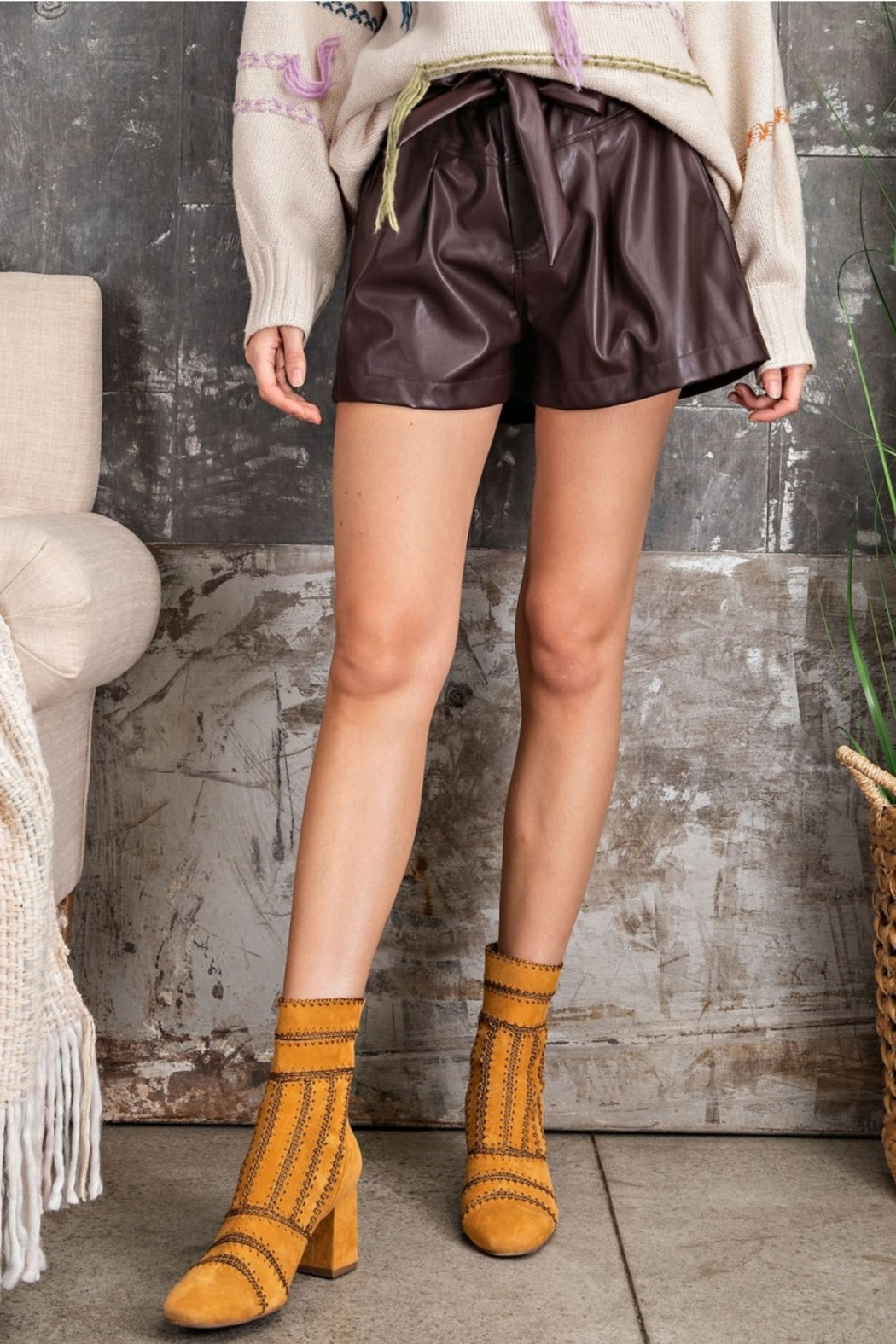 Easel  Paper Bag Deep Plus Faux Leather Shorts - Front Full Image