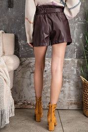 Easel  Paper Bag Deep Plus Faux Leather Shorts - Other