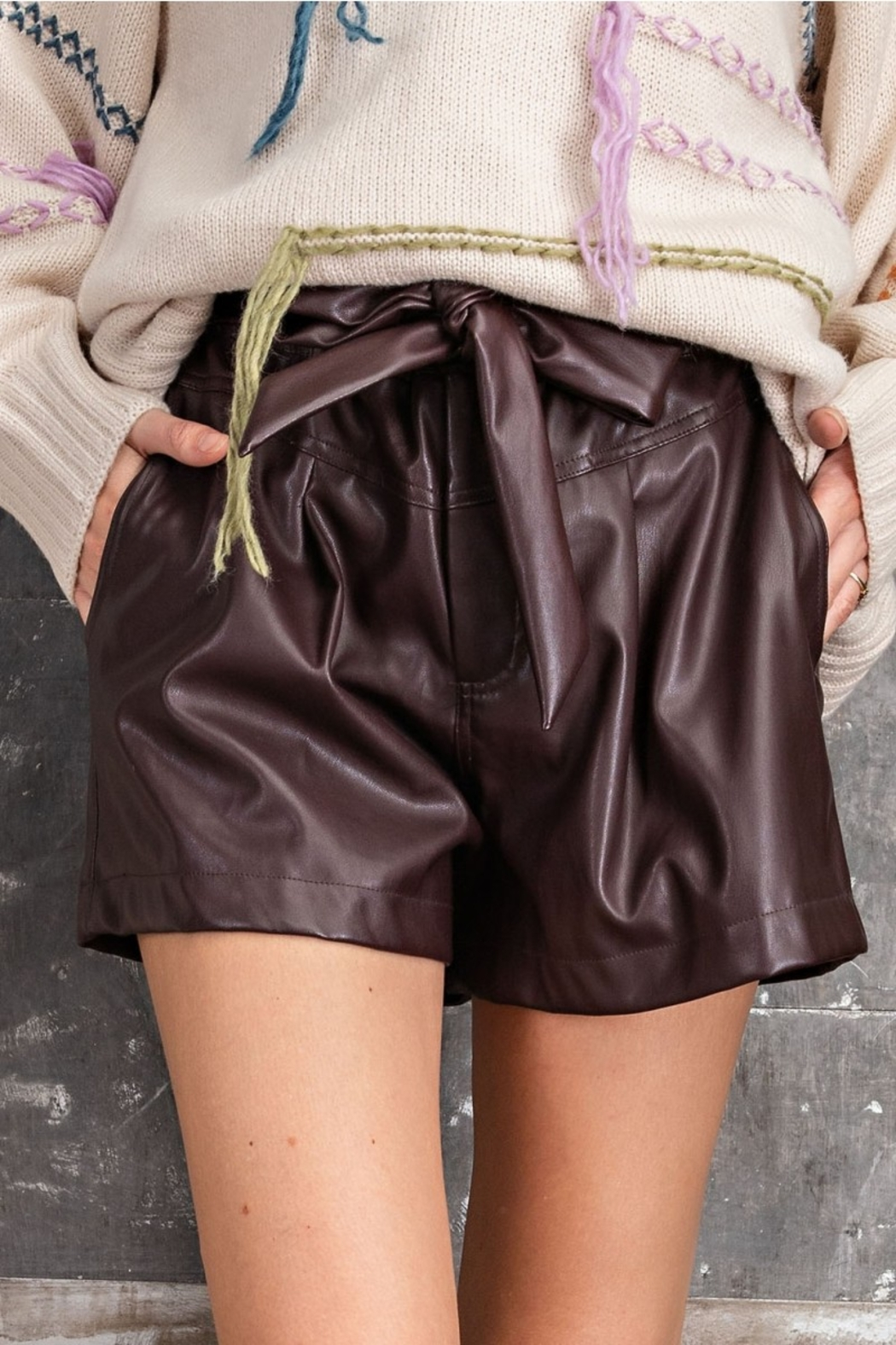 Easel  Paper Bag Deep Plus Faux Leather Shorts - Back Cropped Image