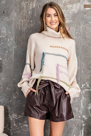 Easel  Paper Bag Deep Plus Faux Leather Shorts - Front cropped