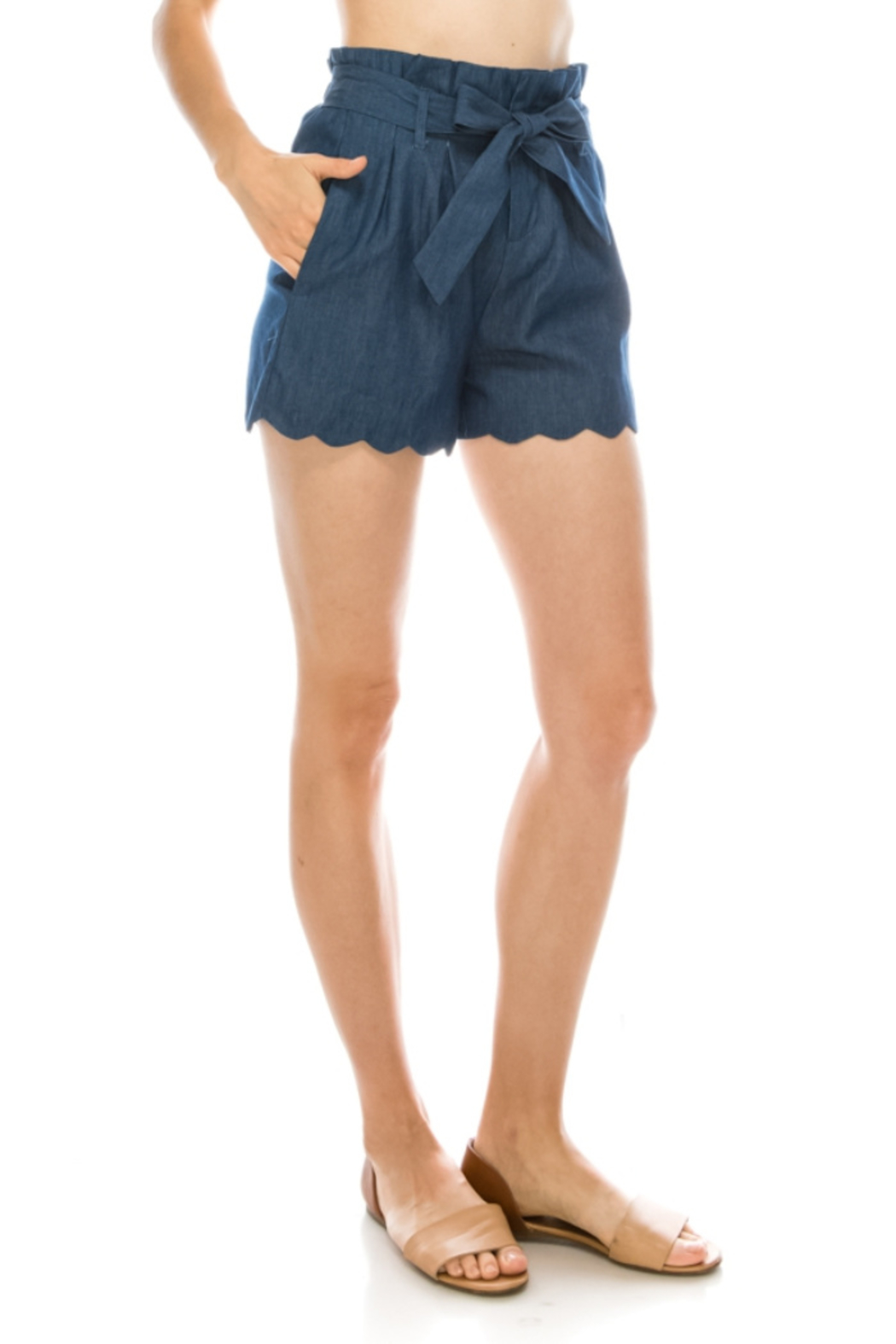 Lyn-Maree's  Paper Bag Scallop Shorts - Front Full Image