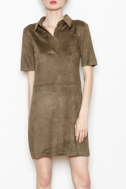 Paper Crane Collared Suede Dress - Product Mini Image