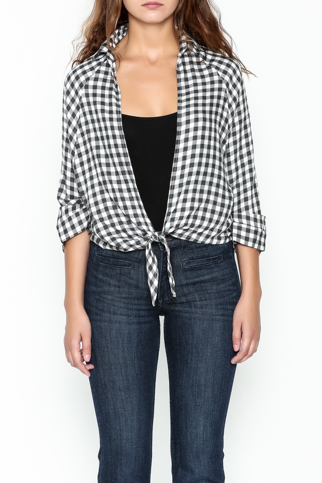 Paper Crane Knotted Grid Shirt - Front Full Image