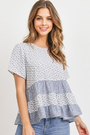 Paper Crane Blue Floral Babydoll Top - Front cropped