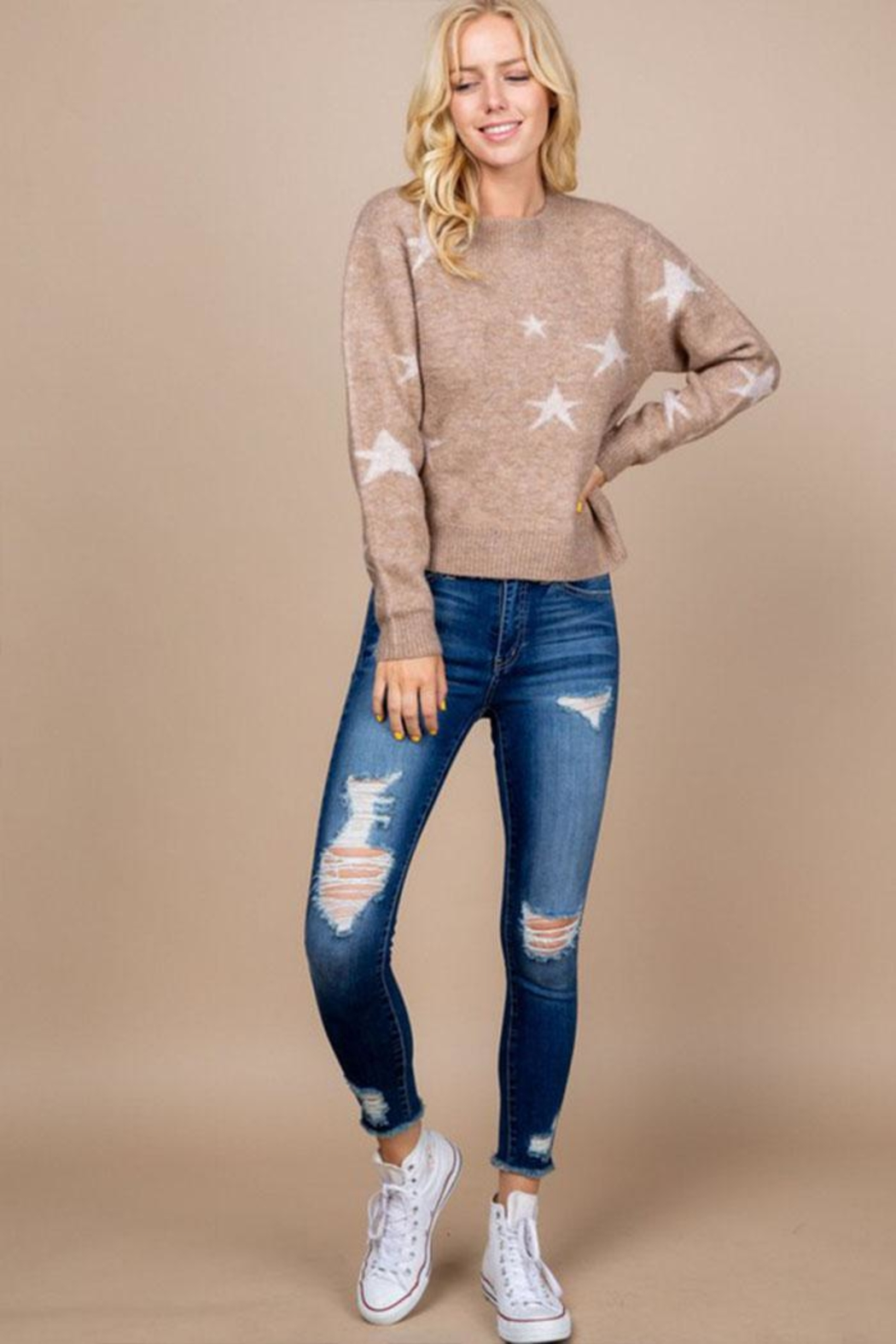 Paper Crane Brown Star Sweater - Side Cropped Image