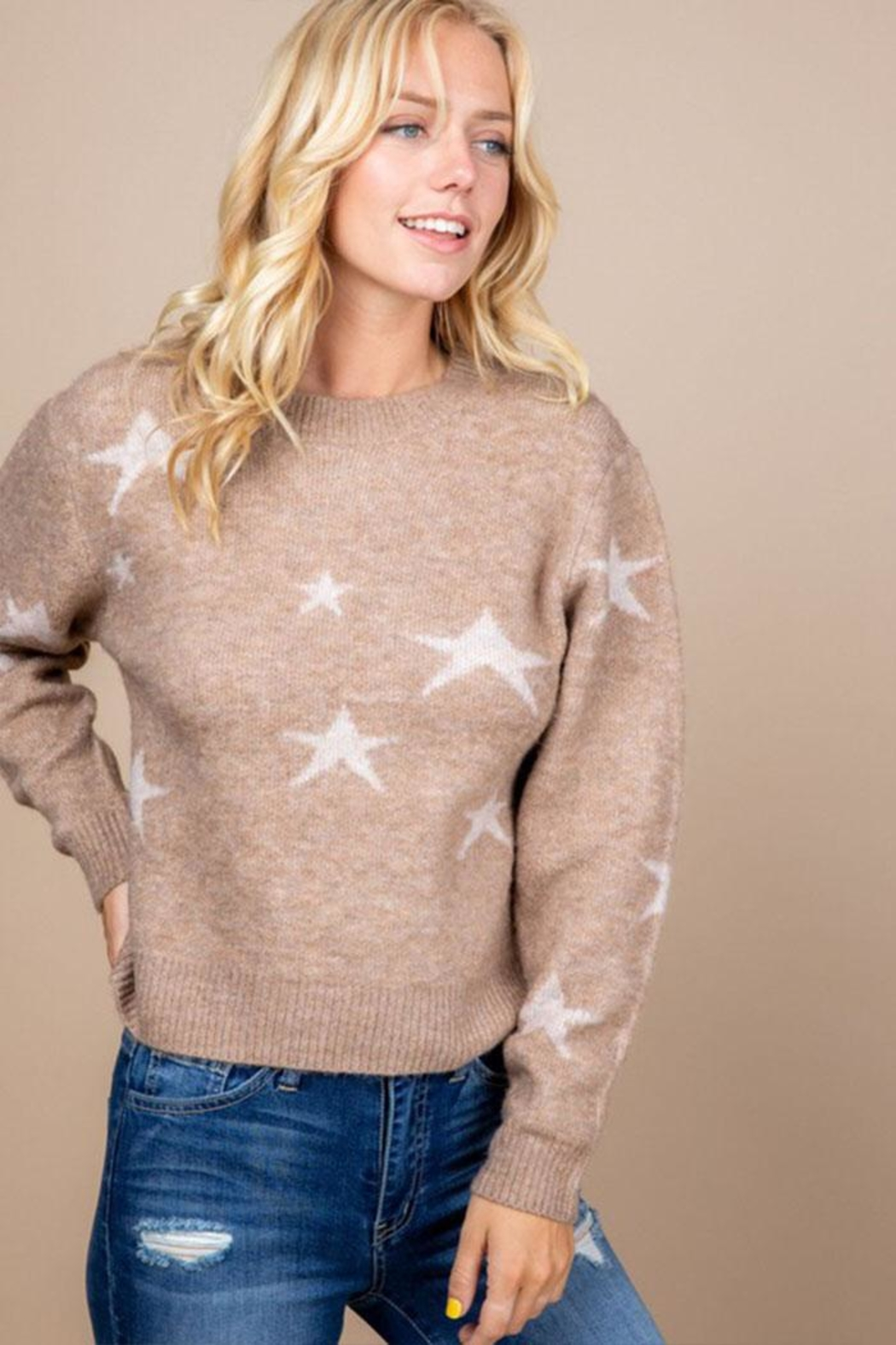 Paper Crane Brown Star Sweater - Front Full Image