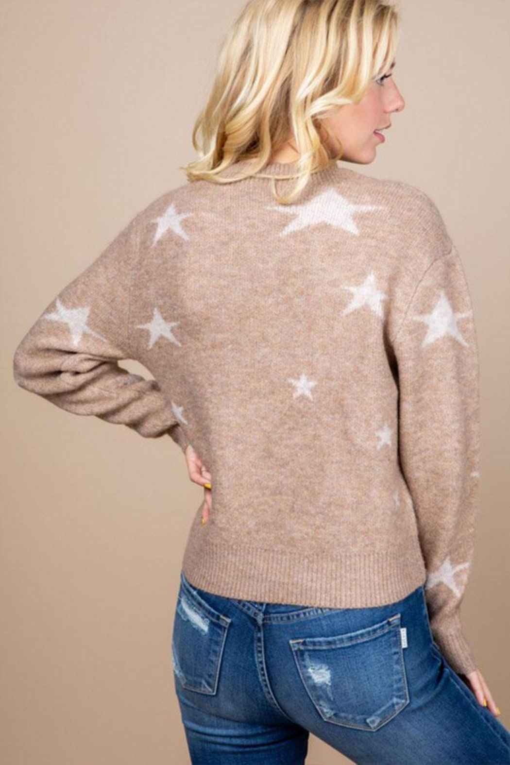Paper Crane Brown Star Sweater - Back Cropped Image