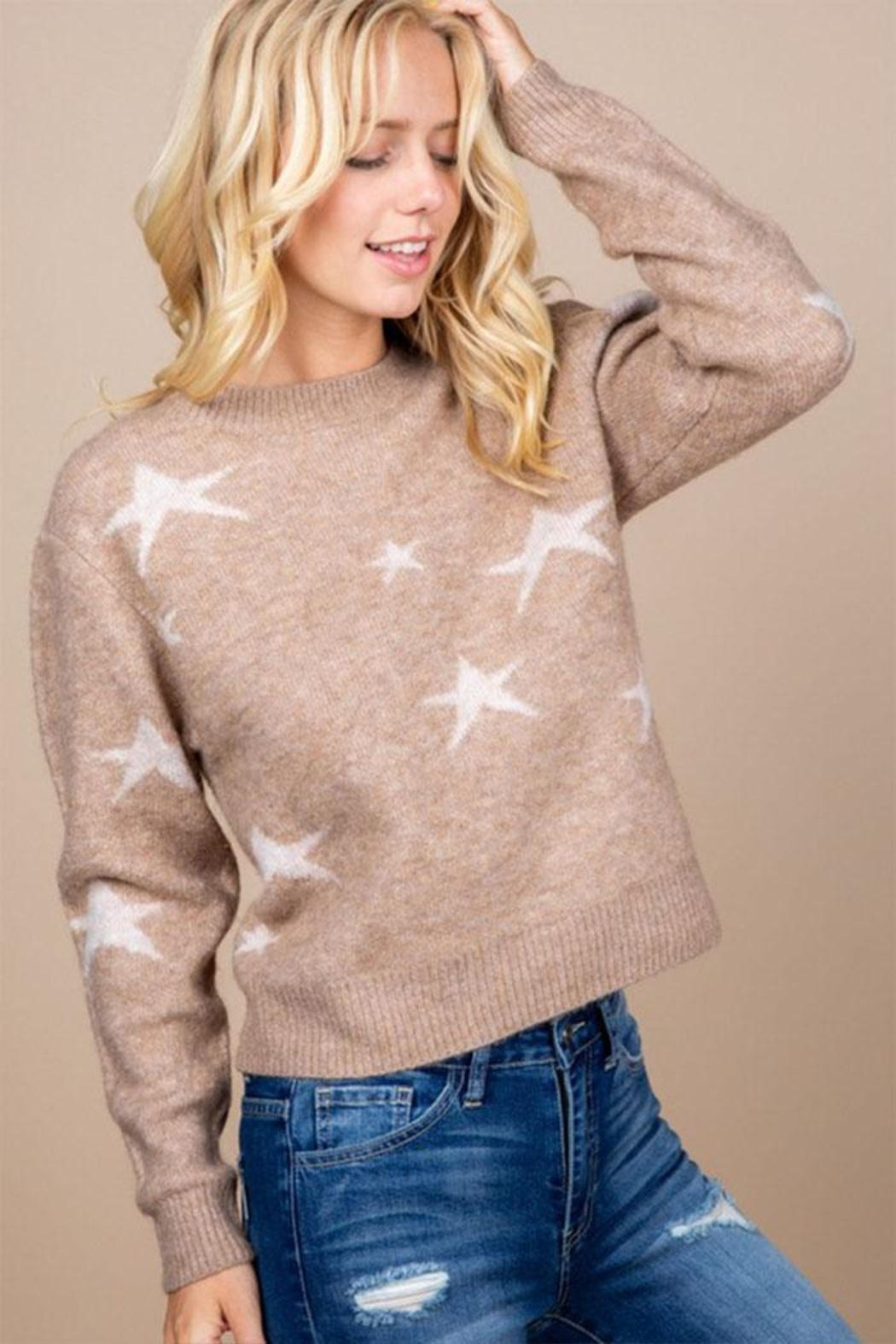 Paper Crane Brown Star Sweater - Front Cropped Image