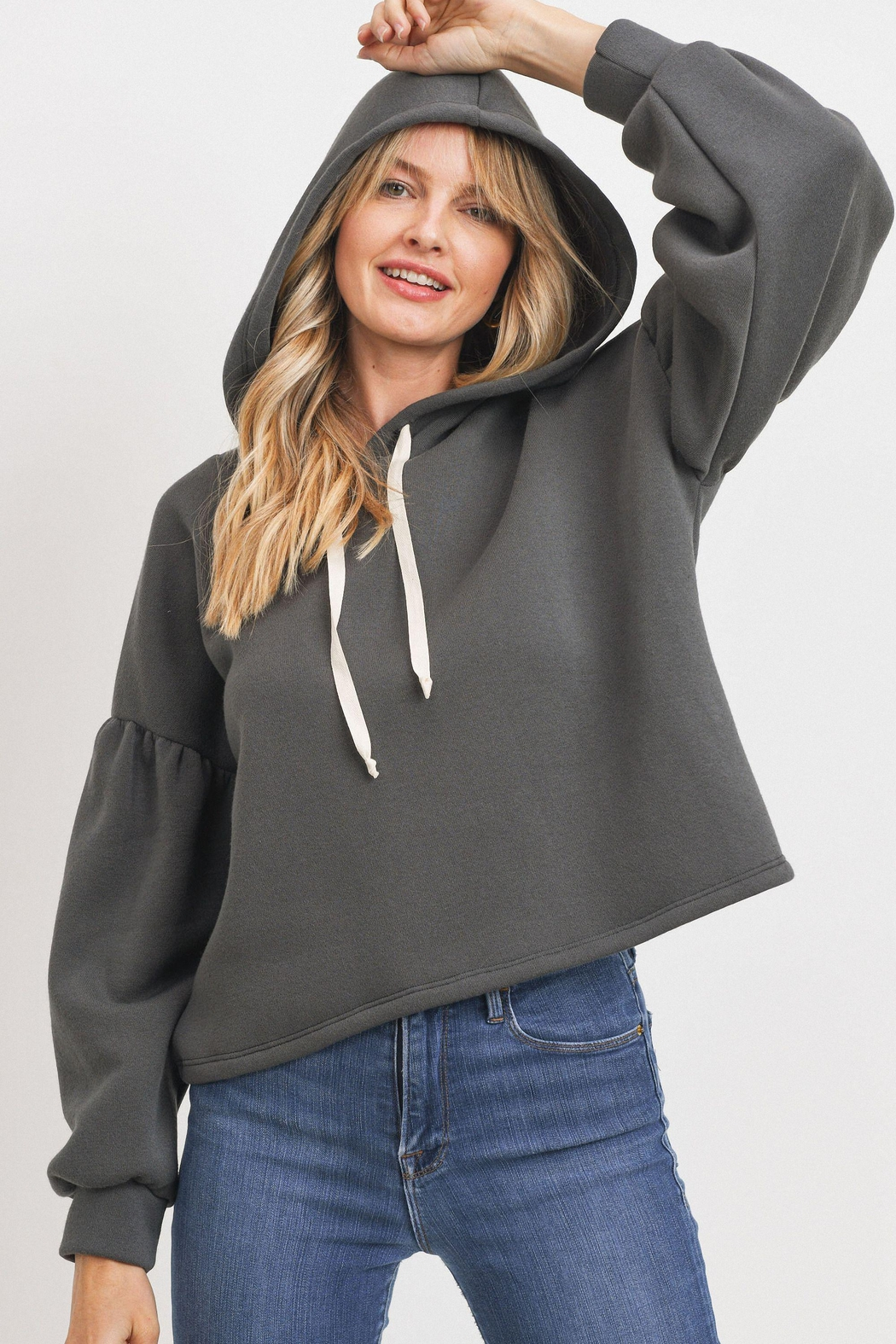 Paper Crane Bubble Sleeve Hoodie - Front Full Image