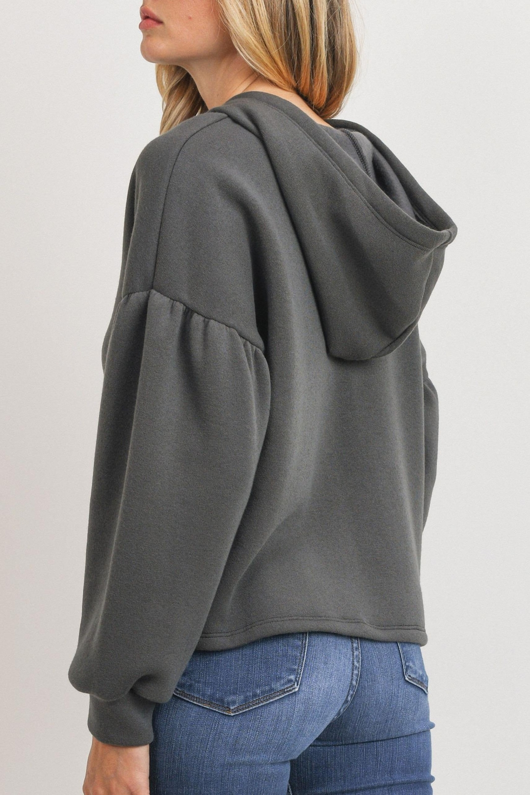 Paper Crane Bubble Sleeve Hoodie - Side Cropped Image