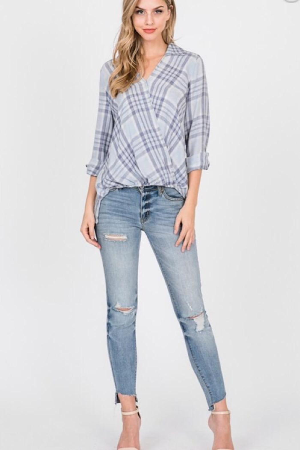 Paper Crane Burnout Woven Surplice Stripe Collared Top - Front Full Image