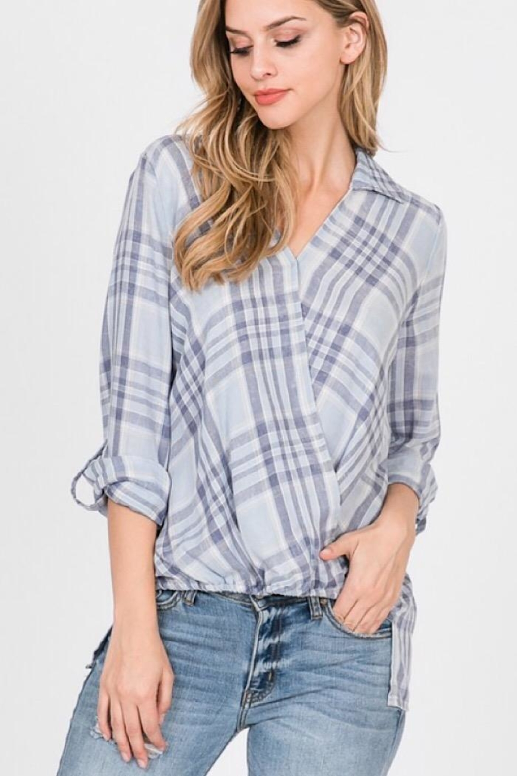 Paper Crane Burnout Woven Surplice Stripe Collared Top - Front Cropped Image