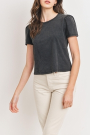 Paper Crane Gravitate Luxe Scoop Neck Tee With Shirred Shoulder Detailing In Black - Product Mini Image