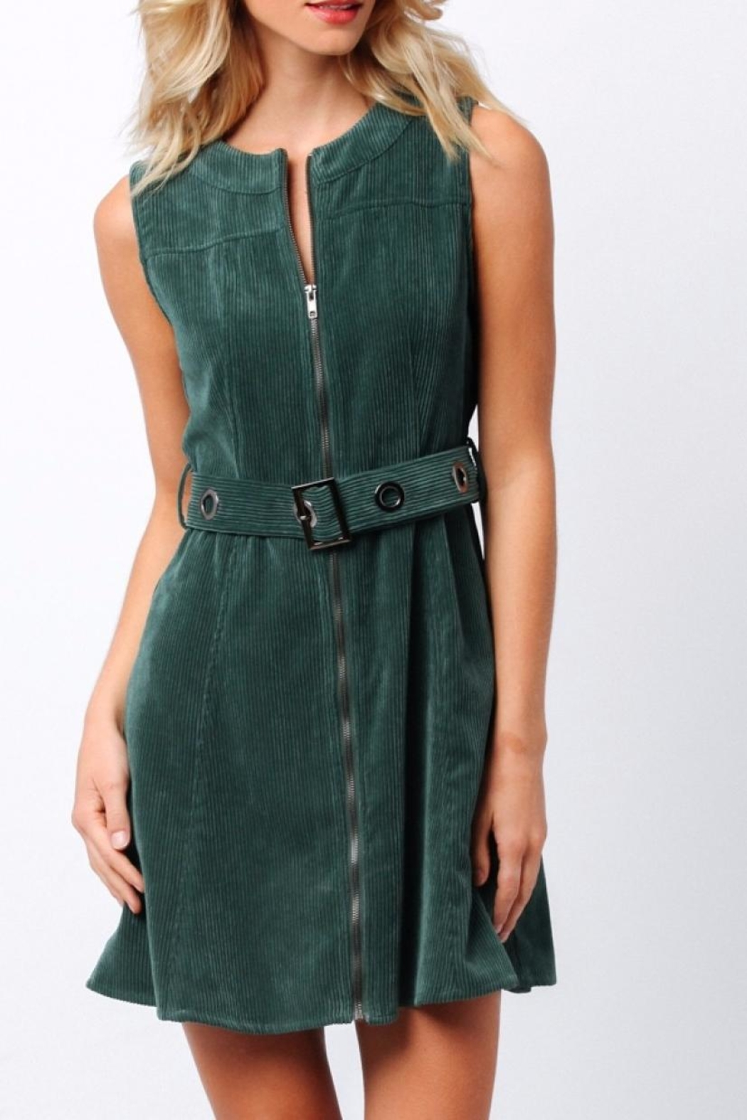 Paper Crane Green Corduroy Dress - Main Image