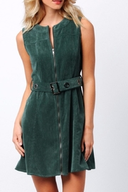 Paper Crane Green Corduroy Dress - Front cropped
