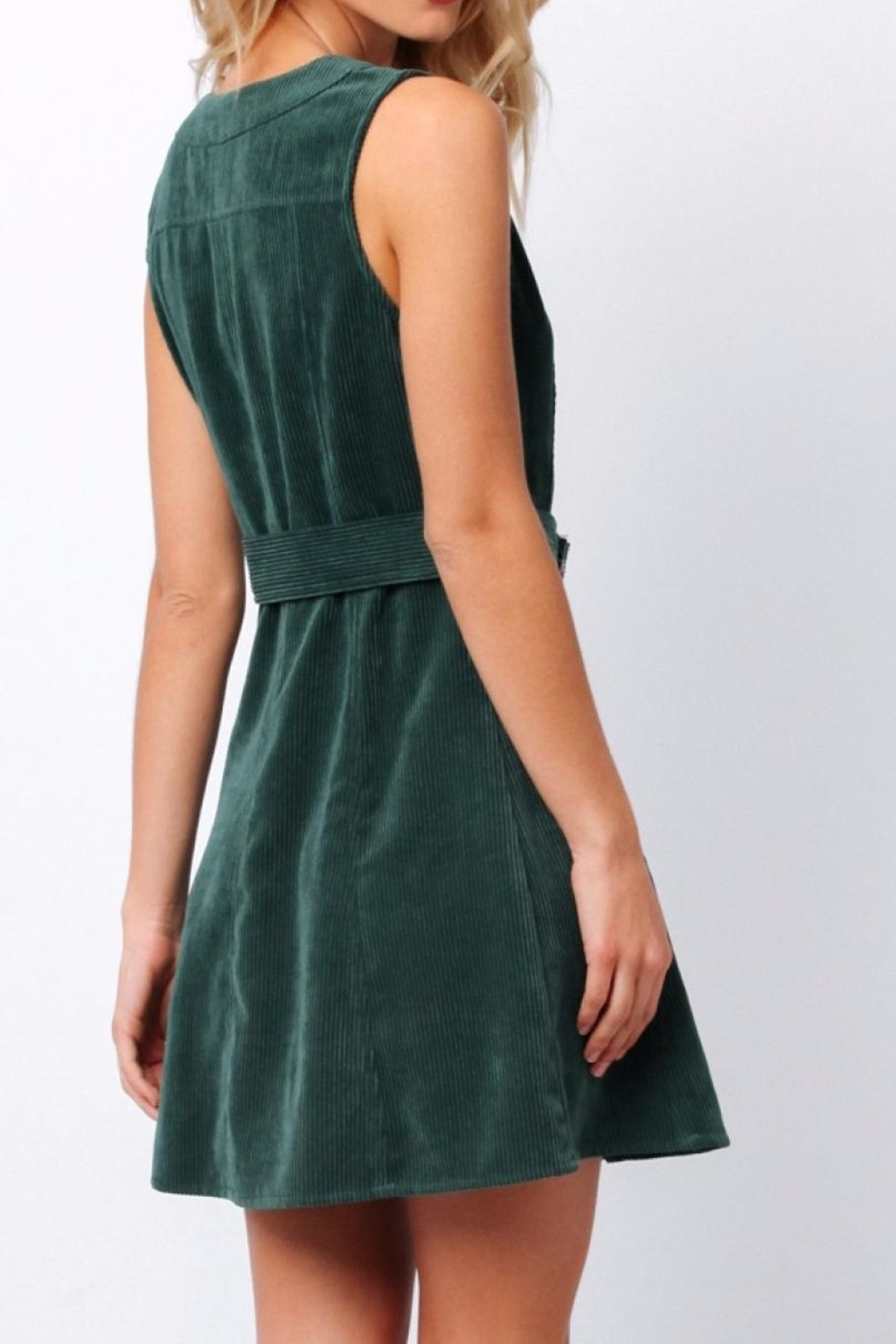 Paper Crane Green Corduroy Dress - Side Cropped Image