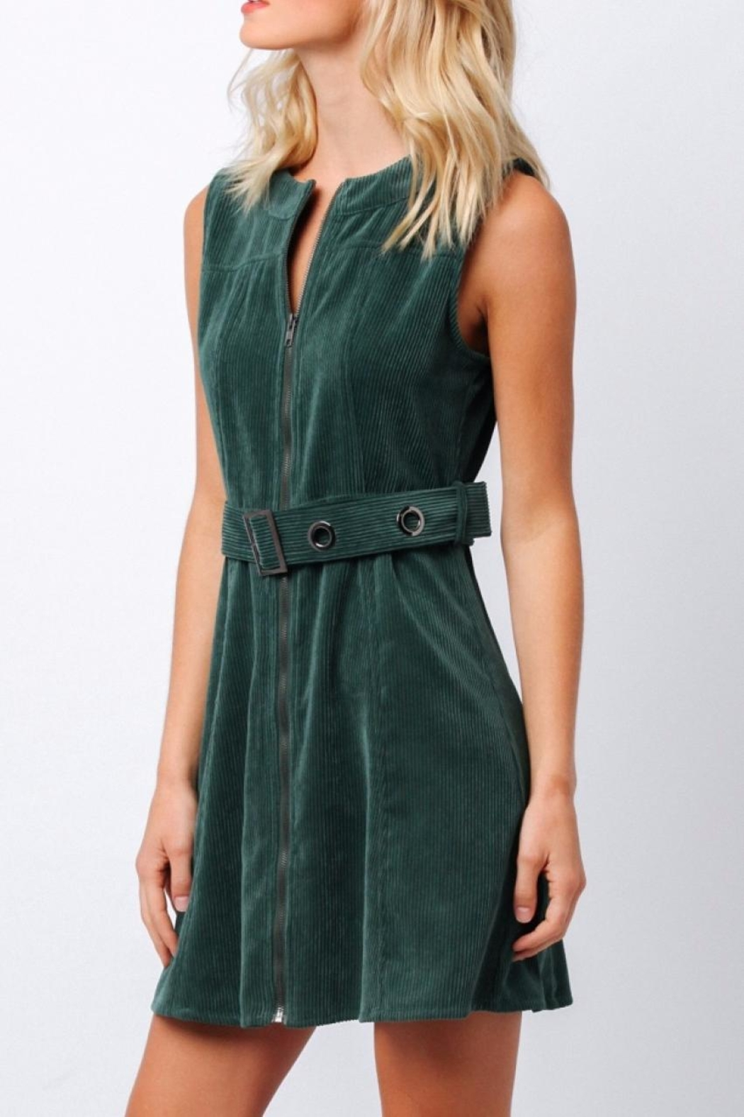 Paper Crane Green Corduroy Dress - Front Full Image