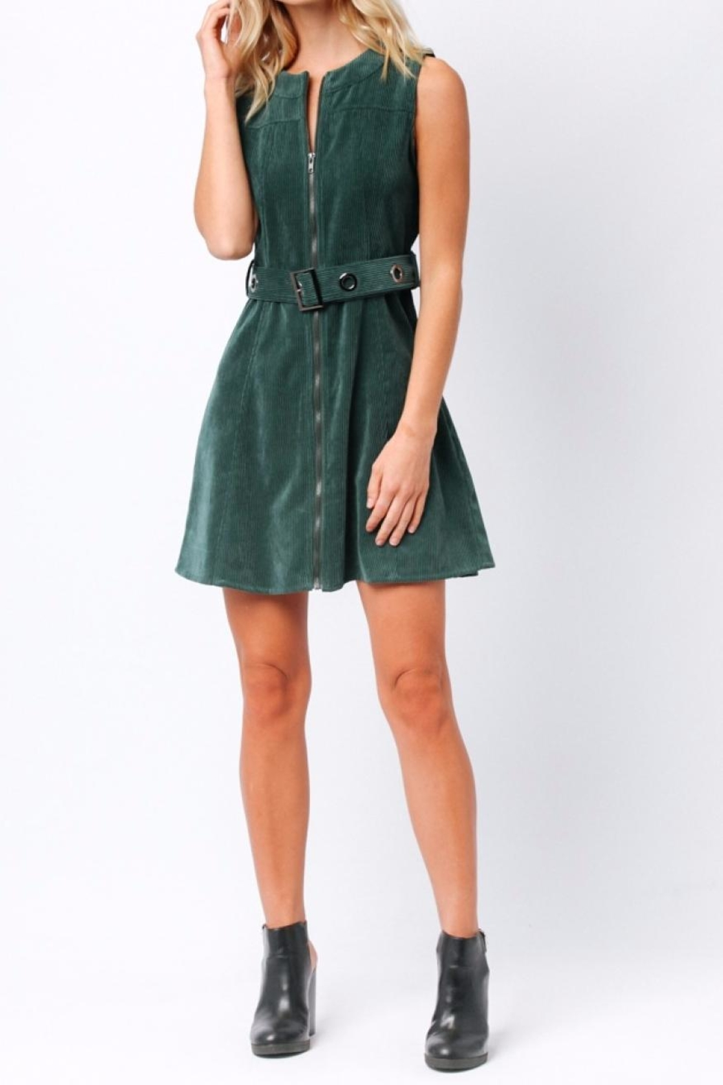 Paper Crane Green Corduroy Dress - Back Cropped Image