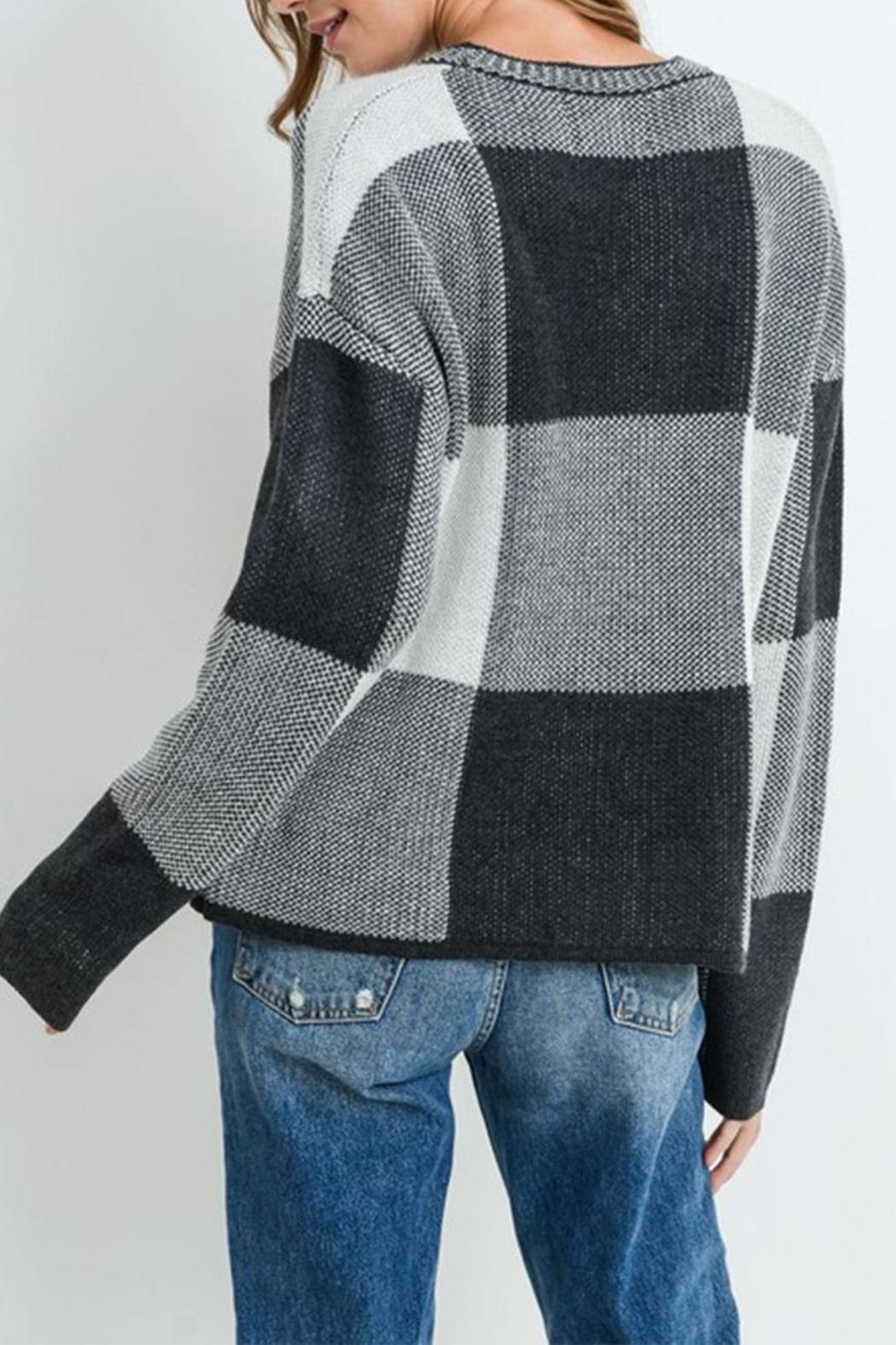 Paper Crane Grey Checkered Sweater - Front Full Image