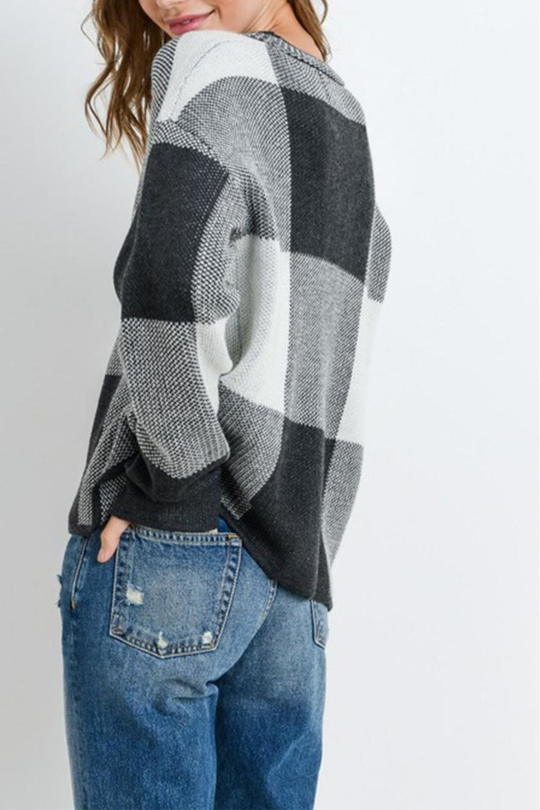 Paper Crane Grey Checkered Sweater - Back Cropped Image