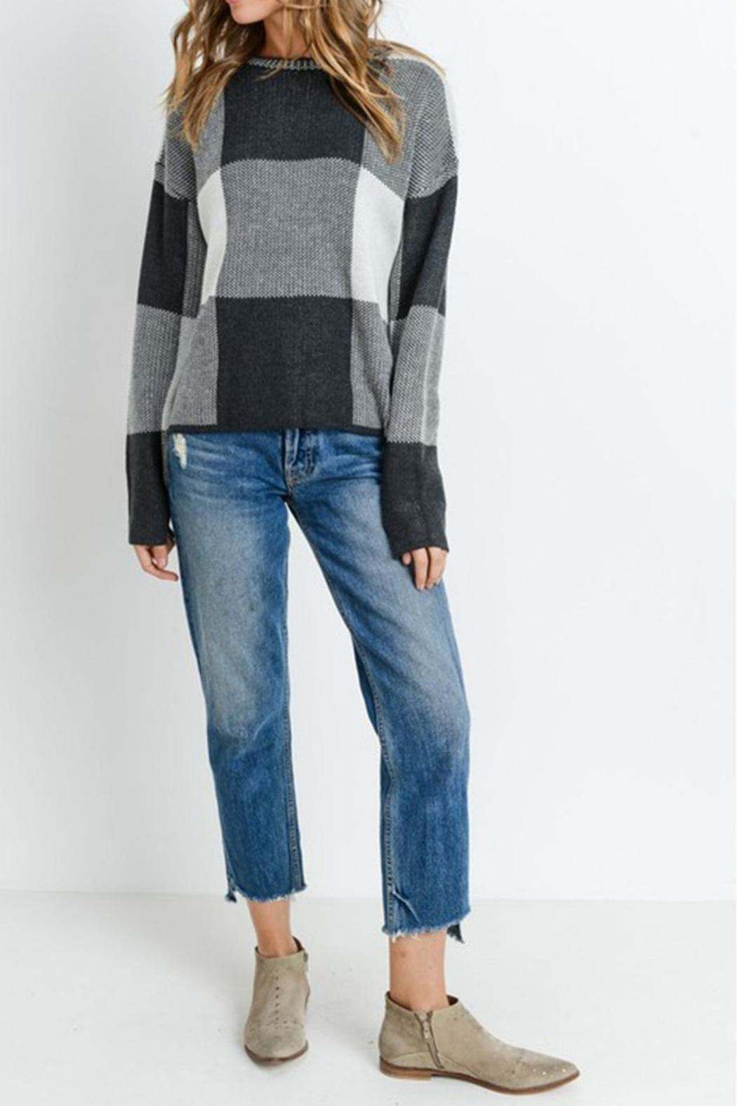 Paper Crane Grey Checkered Sweater - Front Cropped Image