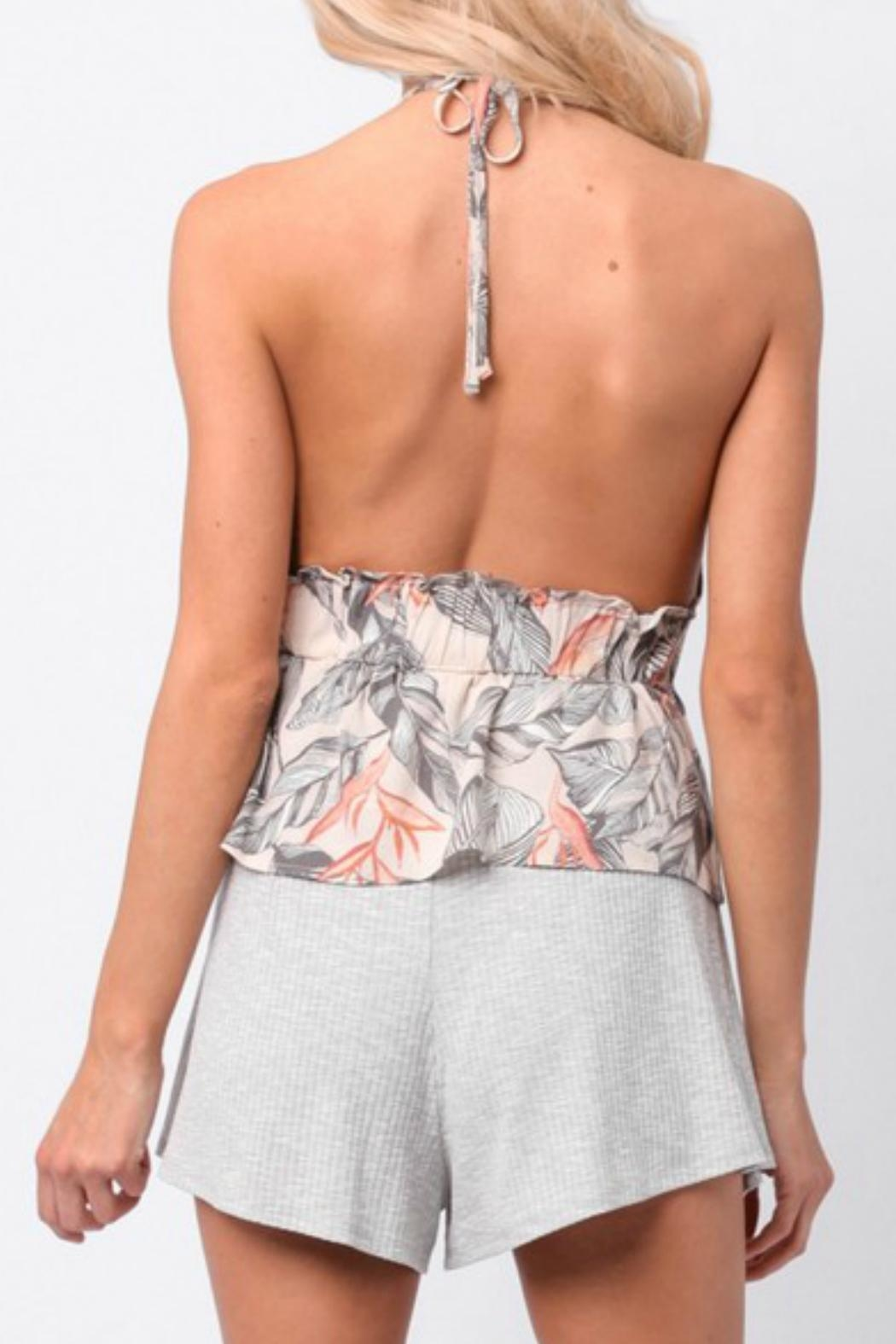 Paper Crane Halter Peplum Top - Side Cropped Image