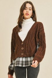 Paper Crane Knitted Flannel Cardigan - Product Mini Image