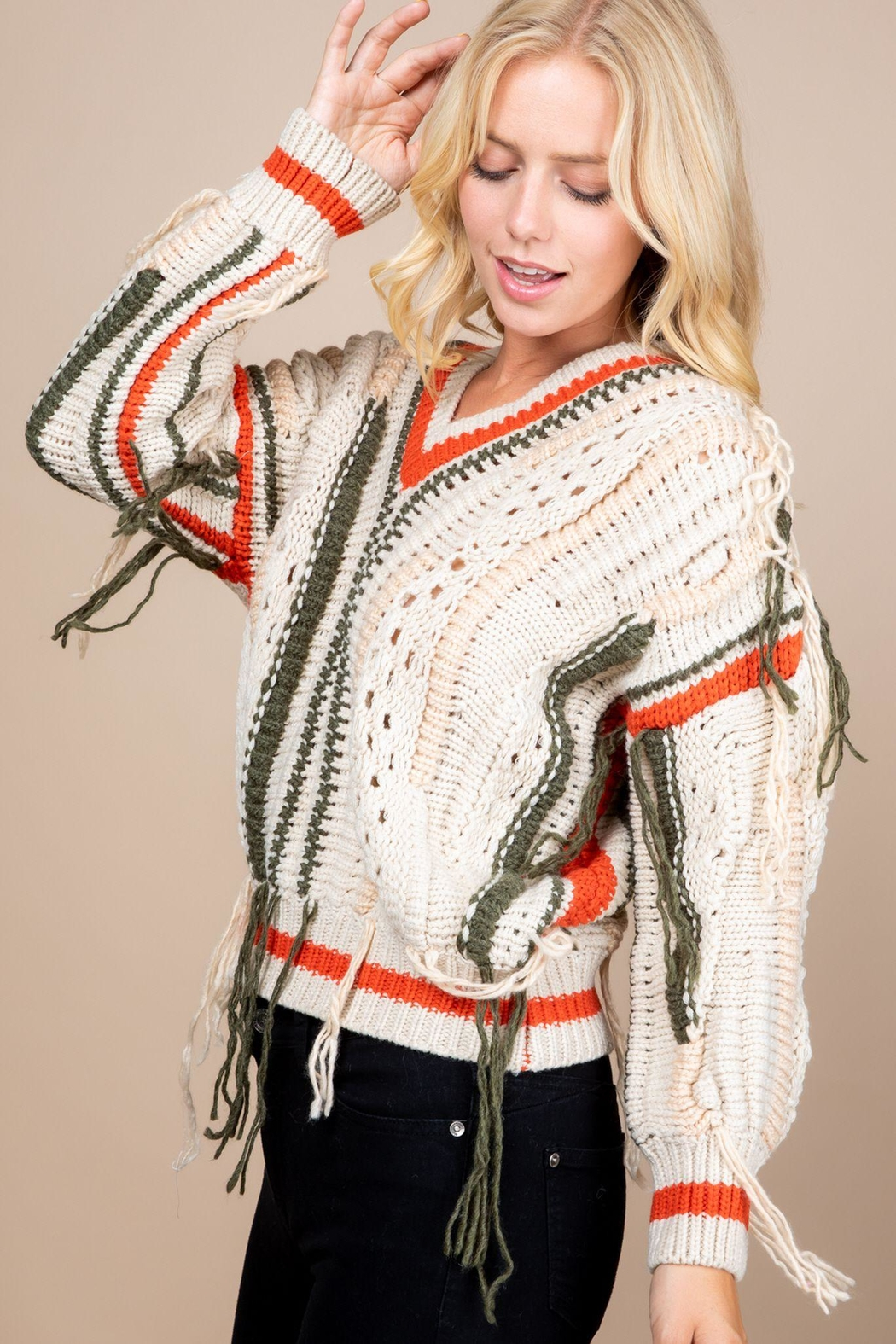 Paper Crane Knitted Fringe Sweater - Front Full Image