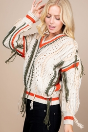 Paper Crane Knitted Fringe Sweater - Front full body