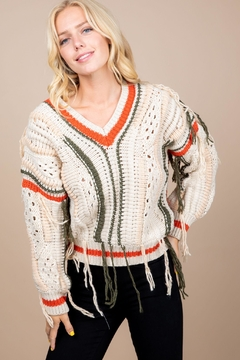 Paper Crane Knitted Fringe Sweater - Product List Image