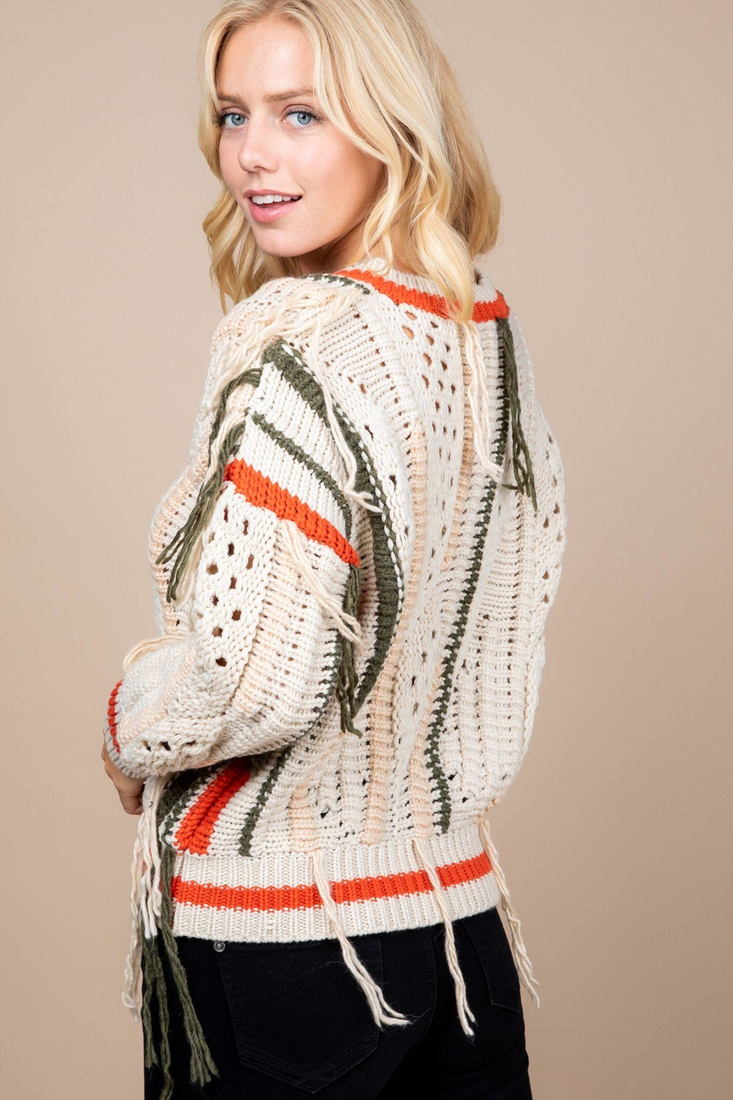 Paper Crane Knitted Fringe Sweater - Side Cropped Image