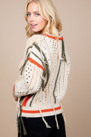 Paper Crane Knitted Fringe Sweater - Side cropped