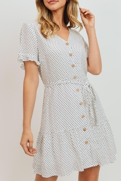 Paper Crane Pleased To Meet You Button Front Polka Dot Dress In Black And White - Product List Image