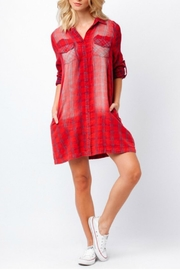 Paper Crane Red Plaid Shirt Dress - Front cropped