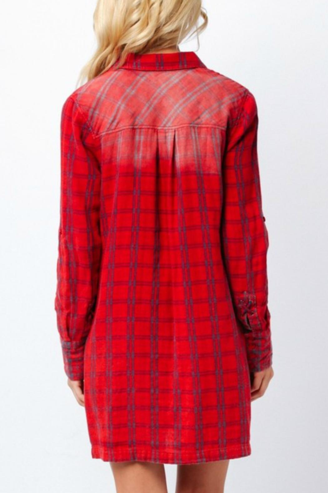 Paper Crane Red Plaid Shirt Dress - Back Cropped Image