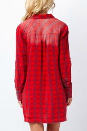 Paper Crane Red Plaid Shirt Dress - Back cropped