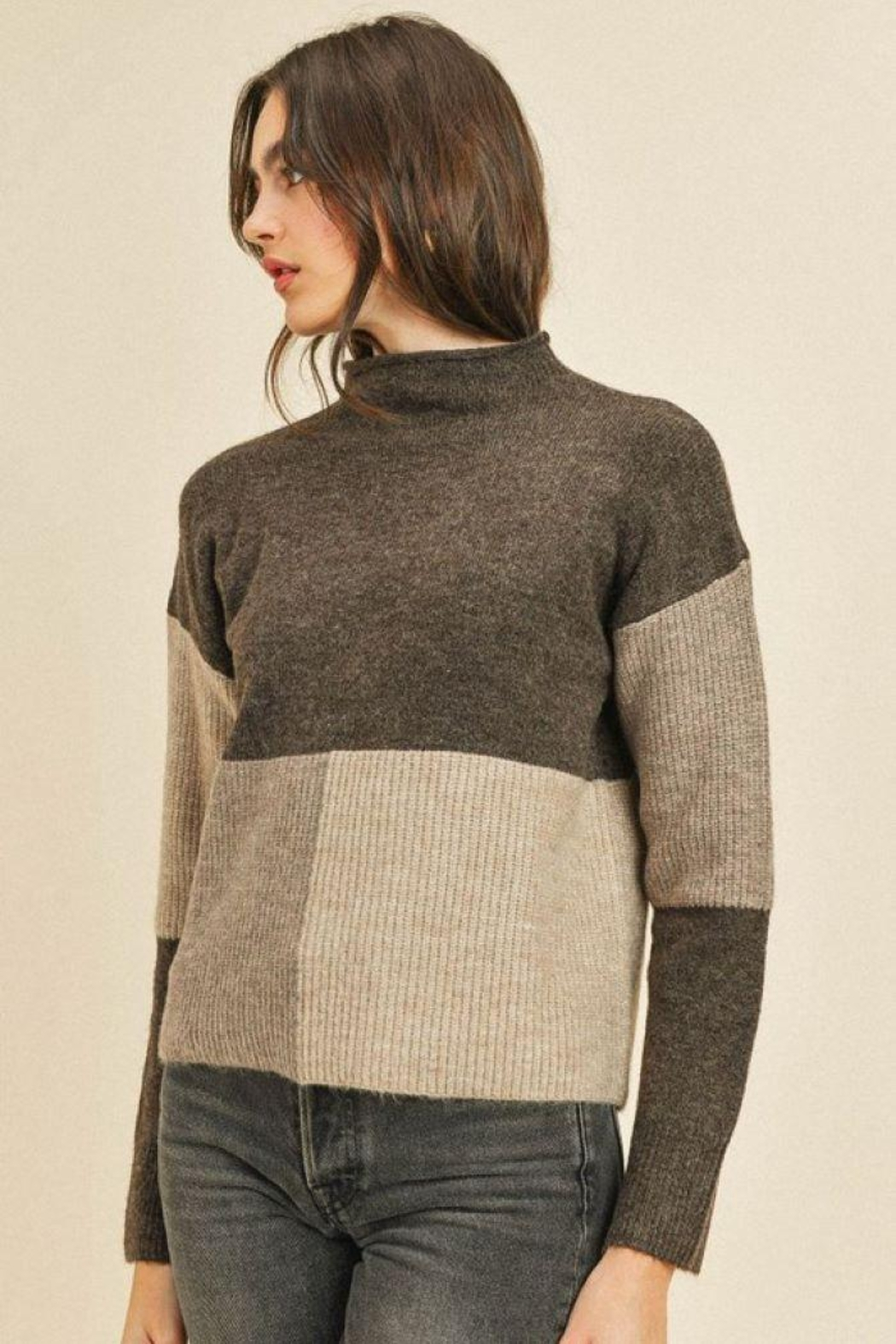 Paper Crane Ribbed Long Sleeve Sweater Top - Side Cropped Image