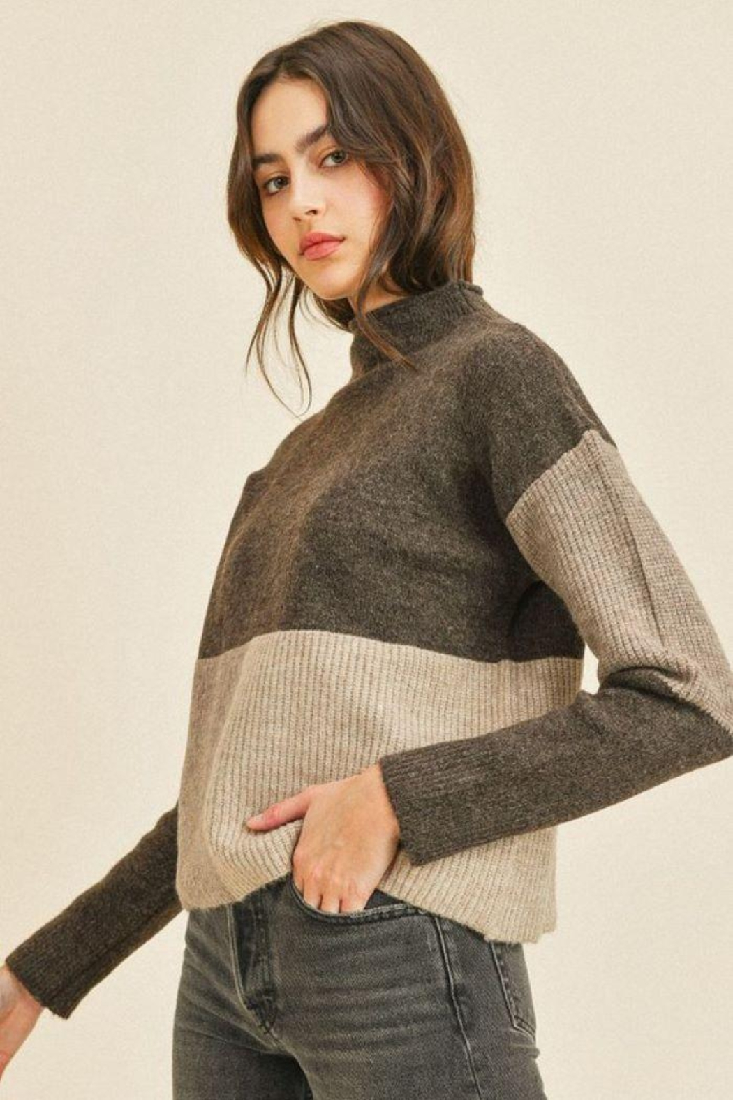 Paper Crane Ribbed Long Sleeve Sweater Top - Back Cropped Image