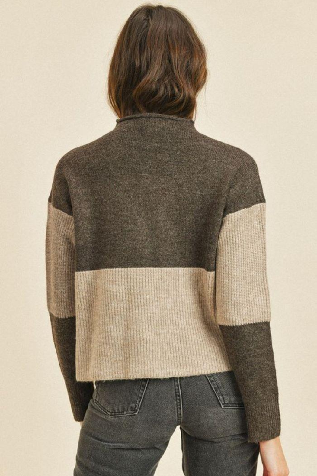 Paper Crane Ribbed Long Sleeve Sweater Top - Front Full Image