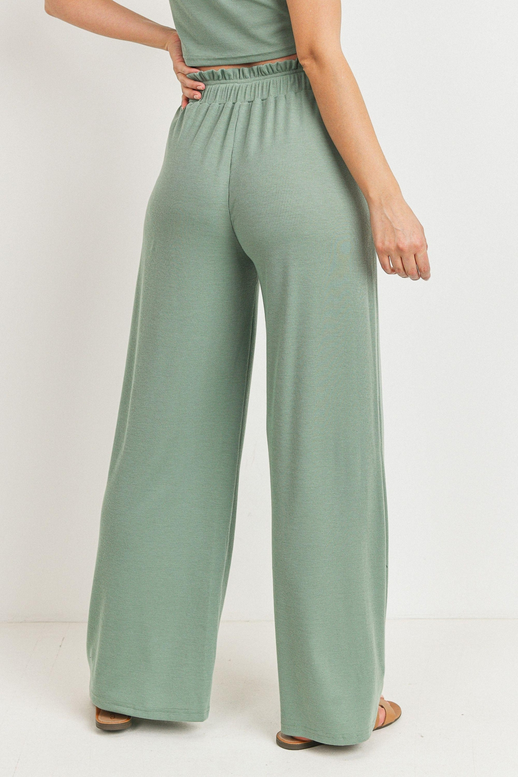 Paper Crane Ribbed Wide Leg Pant - Side Cropped Image