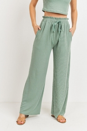 Paper Crane Ribbed Wide Leg Pant - Front full body