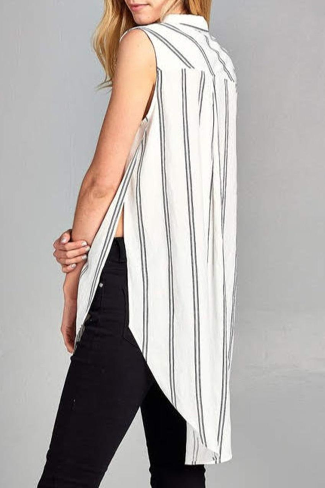 Paper Crane Sleeveless Striped Top - Back Cropped Image