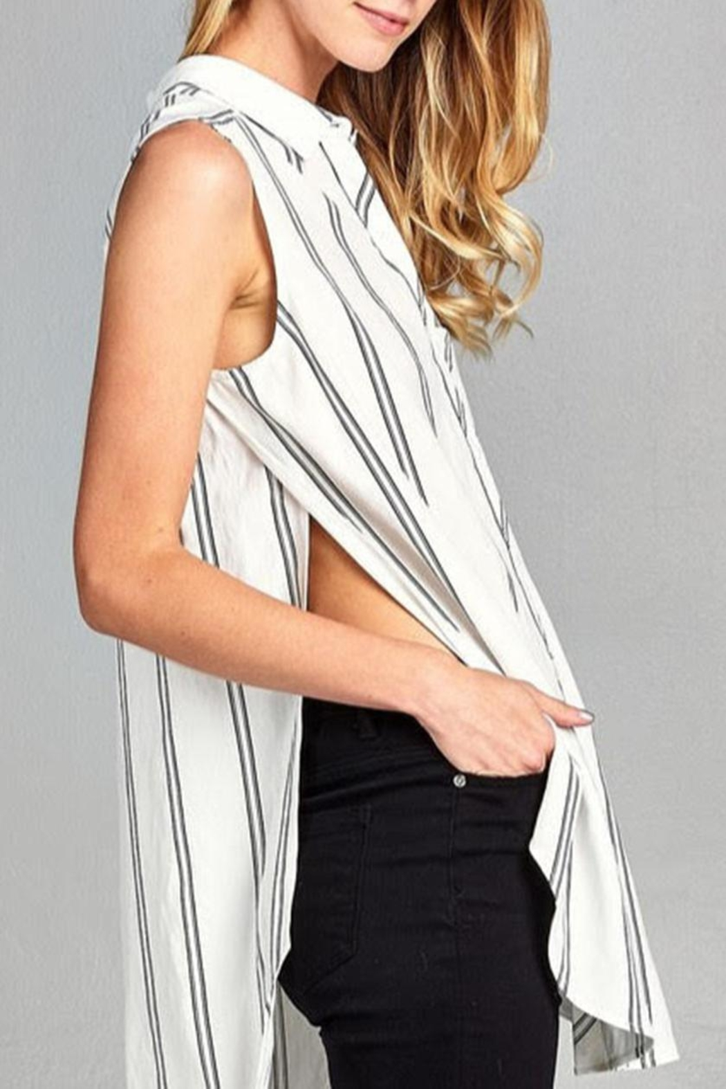Paper Crane Sleeveless Striped Top - Side Cropped Image