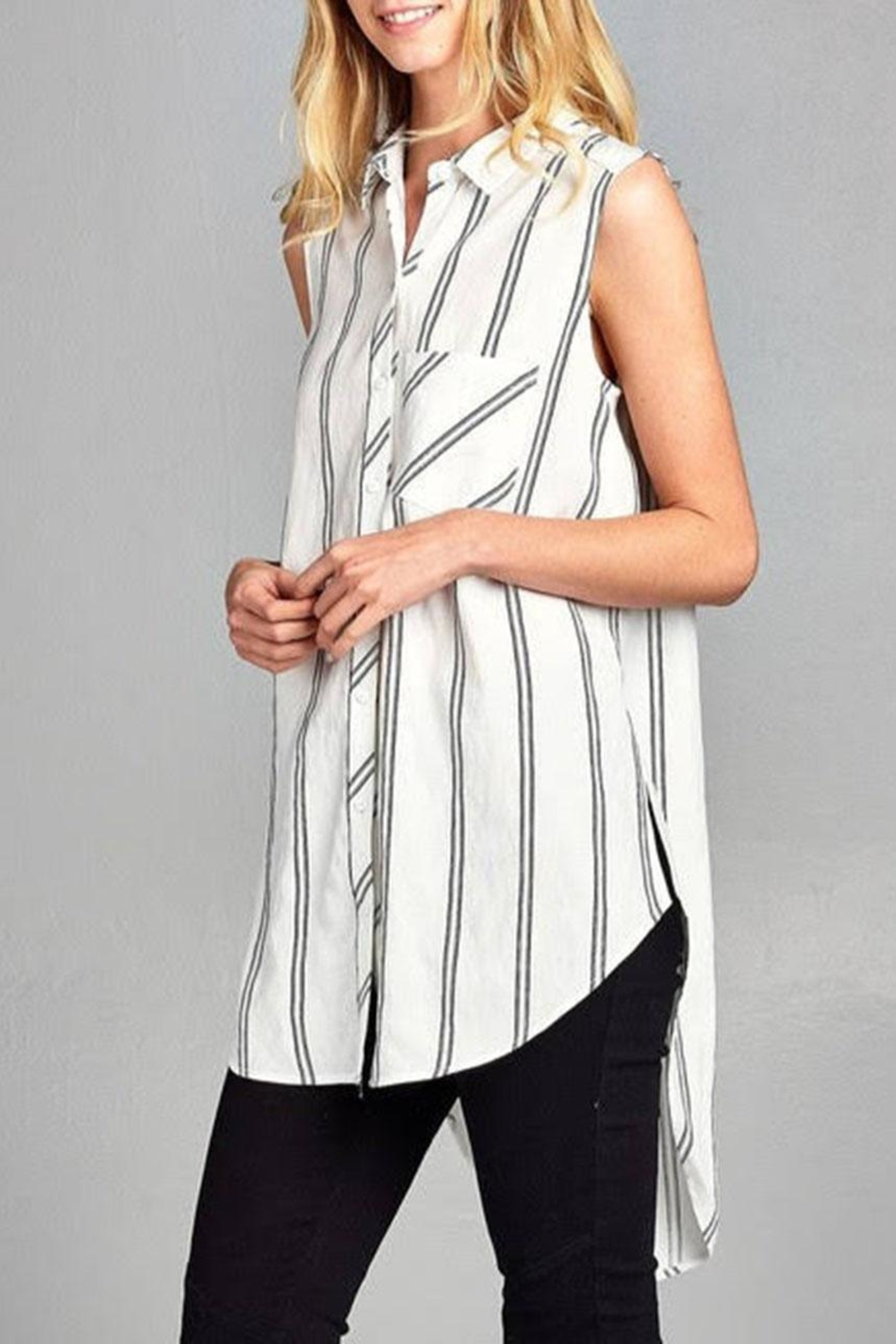 Paper Crane Sleeveless Striped Top - Front Full Image