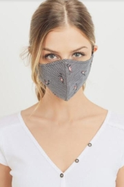Paper Crane Striped Floral Mask - Front cropped
