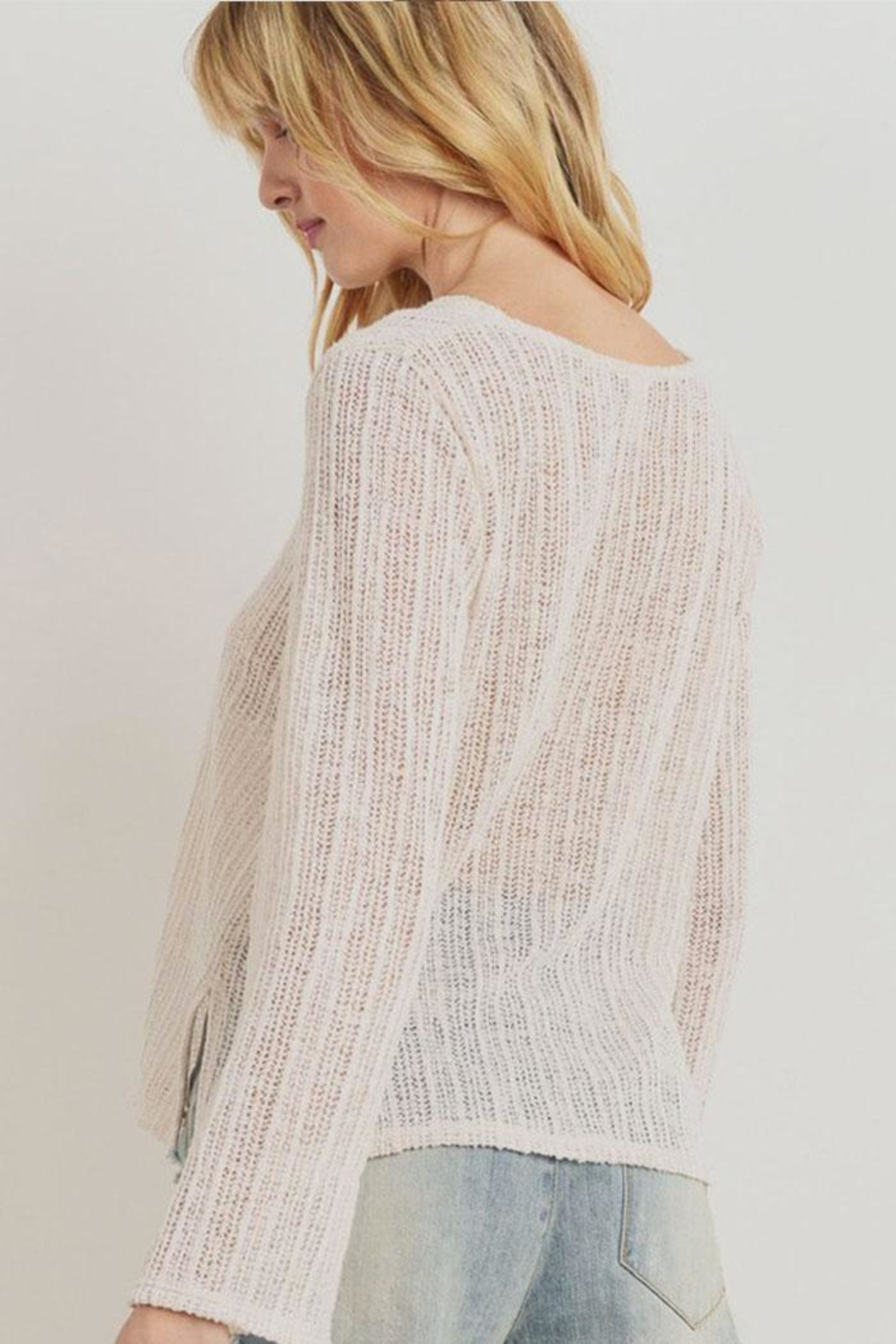 Paper Crane Textured Sweater Top - Front Full Image