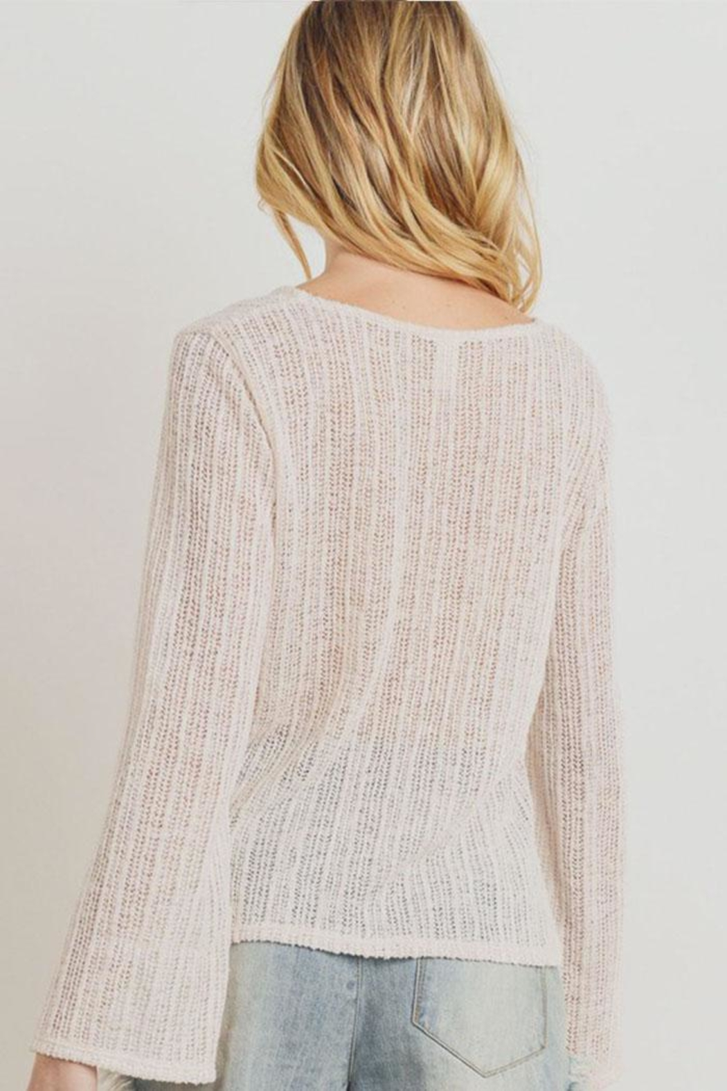 Paper Crane Textured Sweater Top - Side Cropped Image