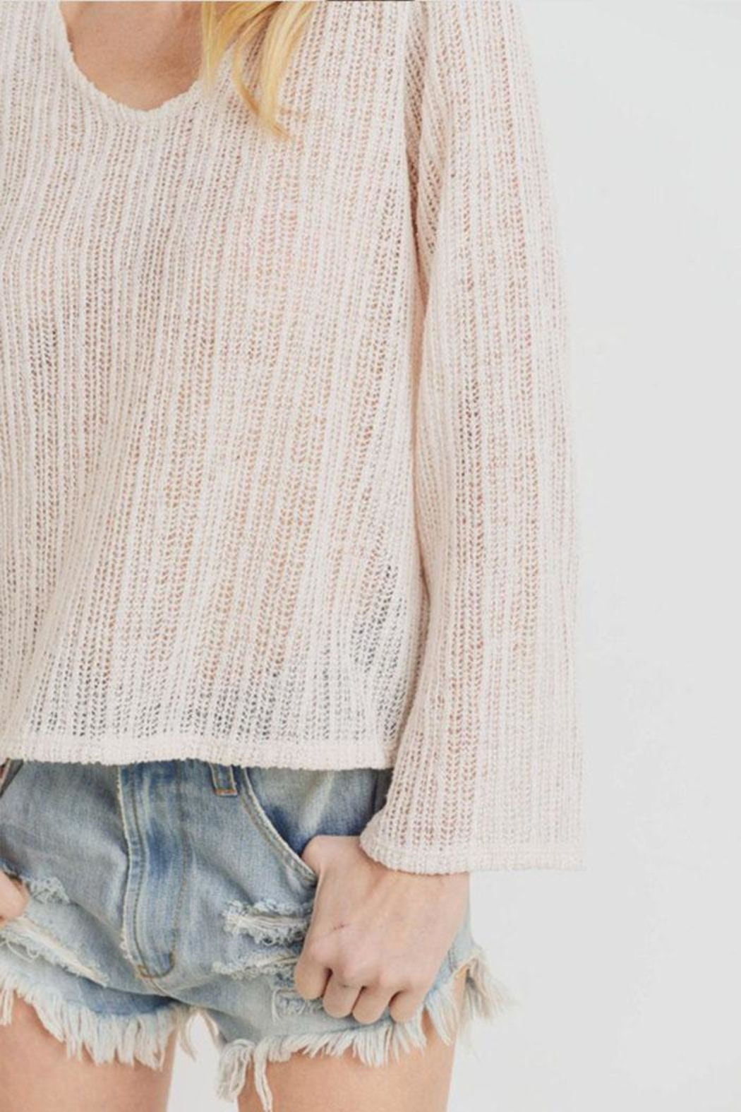 Paper Crane Textured Sweater Top - Back Cropped Image