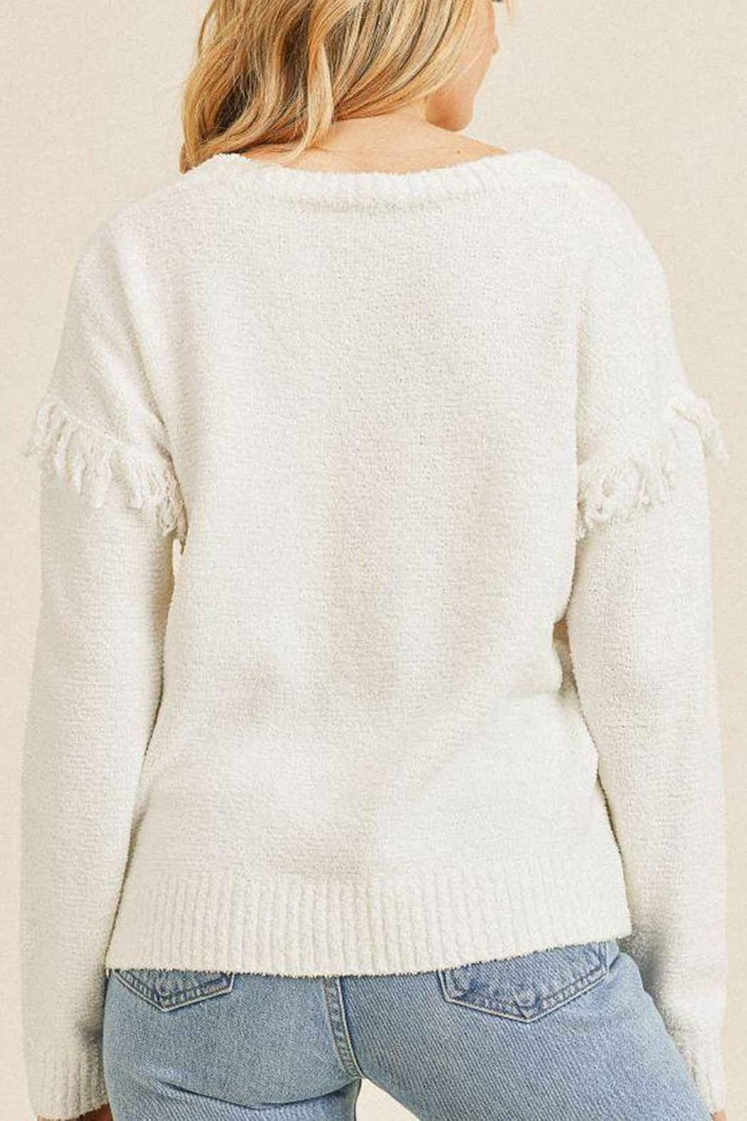 Paper Crane Thread Trim Sweater - Side Cropped Image