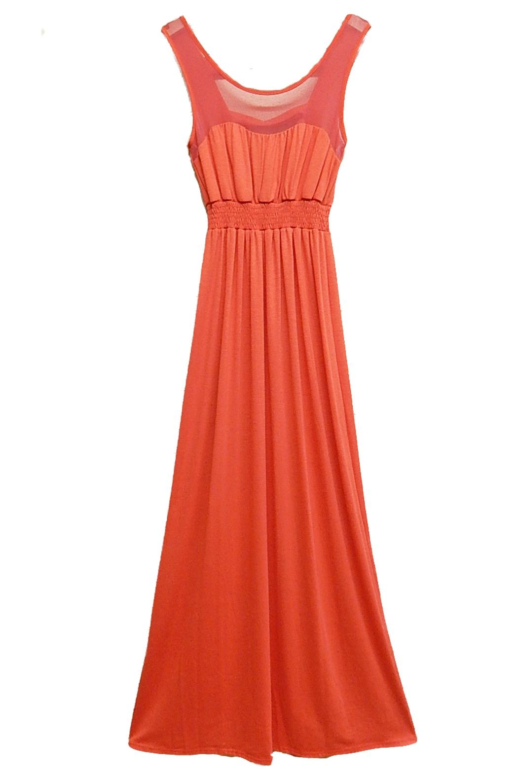 Paper Doll Coral Maxi Dress - Front Cropped Image